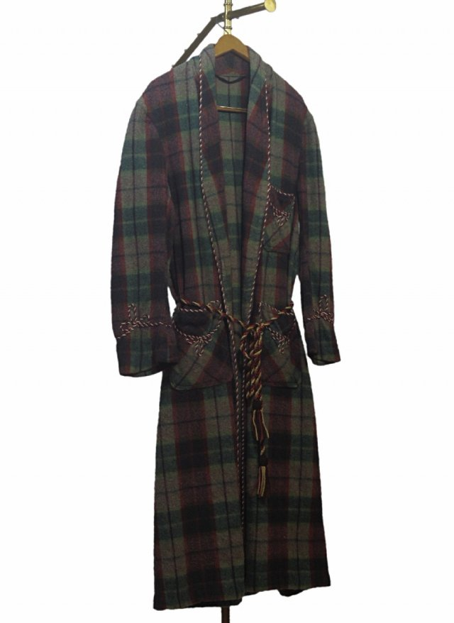 40's UK Vintage Check Smoking Wool Gown CWS Society Wear #677<img class='new_mark_img2' src='https://img.shop-pro.jp/img/new/icons8.gif' style='border:none;display:inline;margin:0px;padding:0px;width:auto;' />