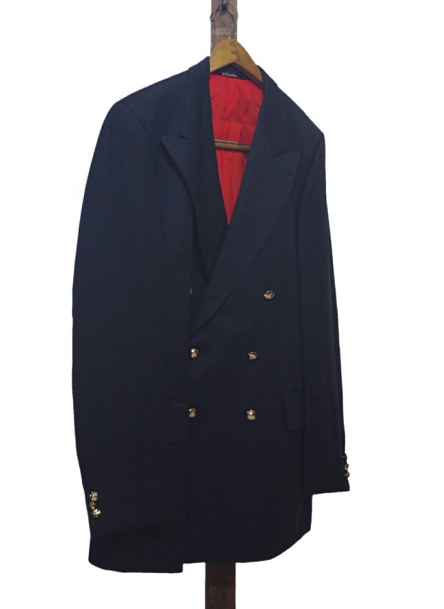 UK DAKS Signature Vintage Wool Navy Blazer Double  #82<img class='new_mark_img2' src='//img.shop-pro.jp/img/new/icons8.gif' style='border:none;display:inline;margin:0px;padding:0px;width:auto;' />