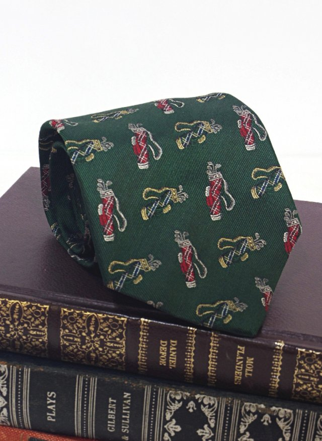 90's Vintage USA Brooks Brothers MAKERS Silk Neck Tie Golf Bag<img class='new_mark_img2' src='//img.shop-pro.jp/img/new/icons8.gif' style='border:none;display:inline;margin:0px;padding:0px;width:auto;' />