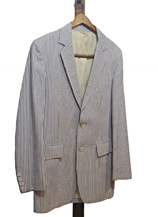 70's Vintage Stripe Seersucker Cotton Jacket <img class='new_mark_img2' src='https://img.shop-pro.jp/img/new/icons8.gif' style='border:none;display:inline;margin:0px;padding:0px;width:auto;' />
