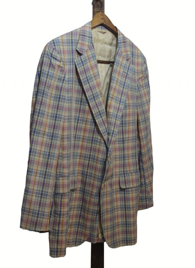 80's USA Vintage  Madras Check Cotton Jacket <img class='new_mark_img2' src='https://img.shop-pro.jp/img/new/icons8.gif' style='border:none;display:inline;margin:0px;padding:0px;width:auto;' />
