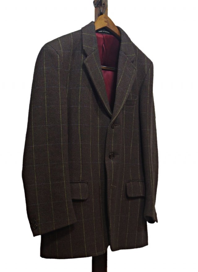 UK Vintage  Bespoke Windowpane Check Tweed 3buttons Jacket   JK-0016<img class='new_mark_img2' src='https://img.shop-pro.jp/img/new/icons8.gif' style='border:none;display:inline;margin:0px;padding:0px;width:auto;' />
