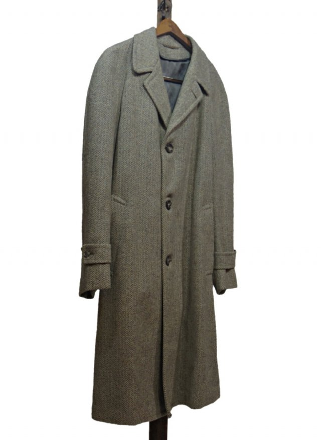 70's USA Harris Tweed Vintage Long Coat #97<img class='new_mark_img2' src='https://img.shop-pro.jp/img/new/icons8.gif' style='border:none;display:inline;margin:0px;padding:0px;width:auto;' />