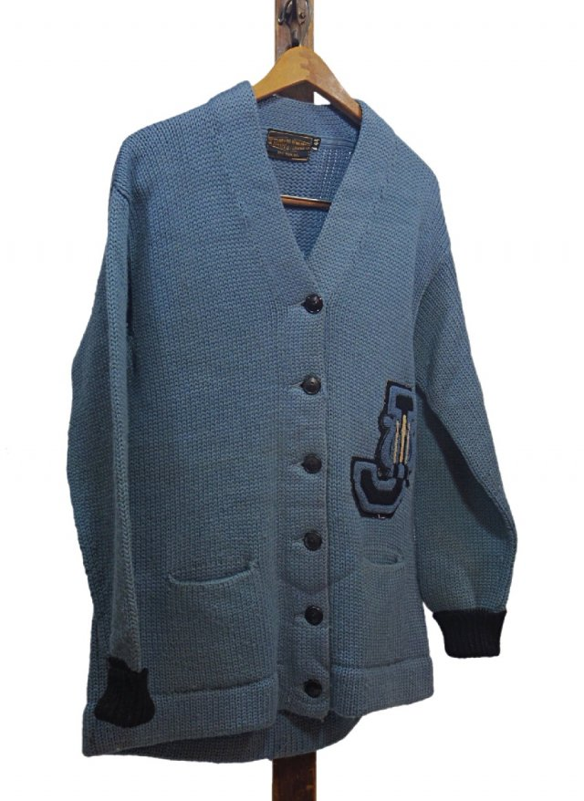 50's USA Vintage Lettered Knit Cardigan      TP-0026