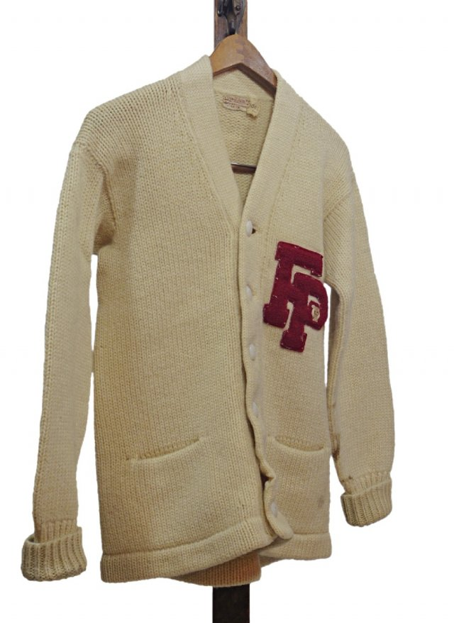 50's USA Vintage Lettered Knit Cardigan    TP-0023