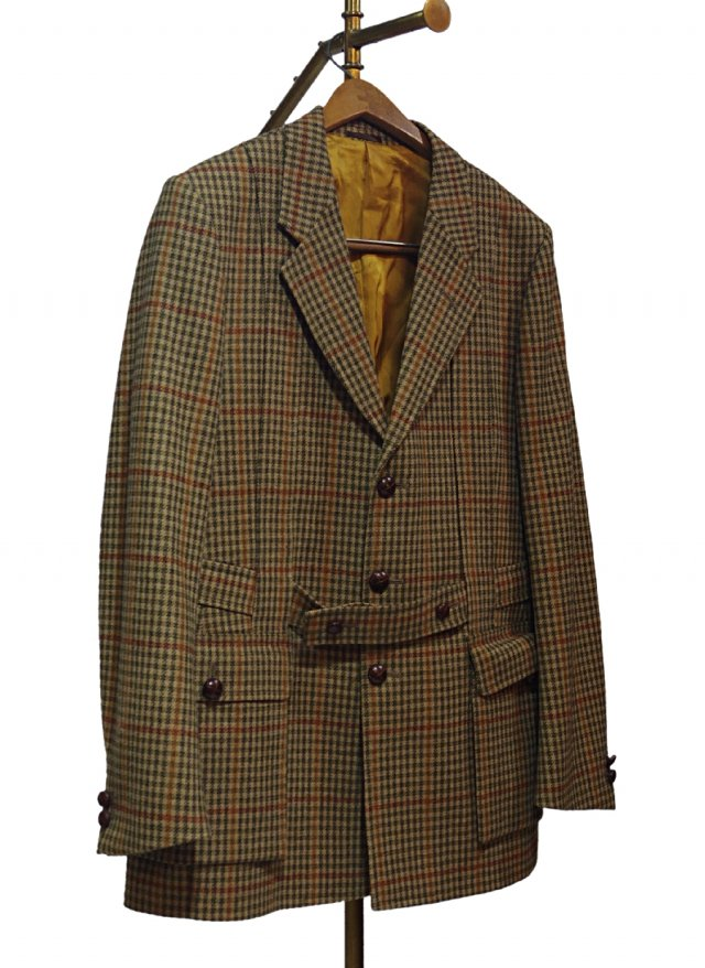 UK 60's Vintage Saxony Wool Gun club Check Norfolk Jacket #0008<img class='new_mark_img2' src='https://img.shop-pro.jp/img/new/icons8.gif' style='border:none;display:inline;margin:0px;padding:0px;width:auto;' />