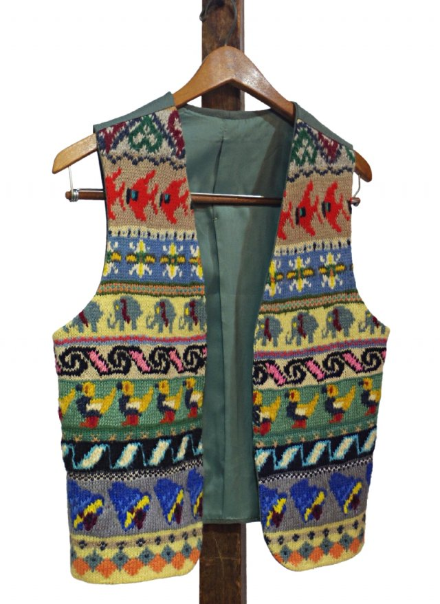 Vintage Ethnic Handmade Wool Vest #0032<img class='new_mark_img2' src='https://img.shop-pro.jp/img/new/icons8.gif' style='border:none;display:inline;margin:0px;padding:0px;width:auto;' />