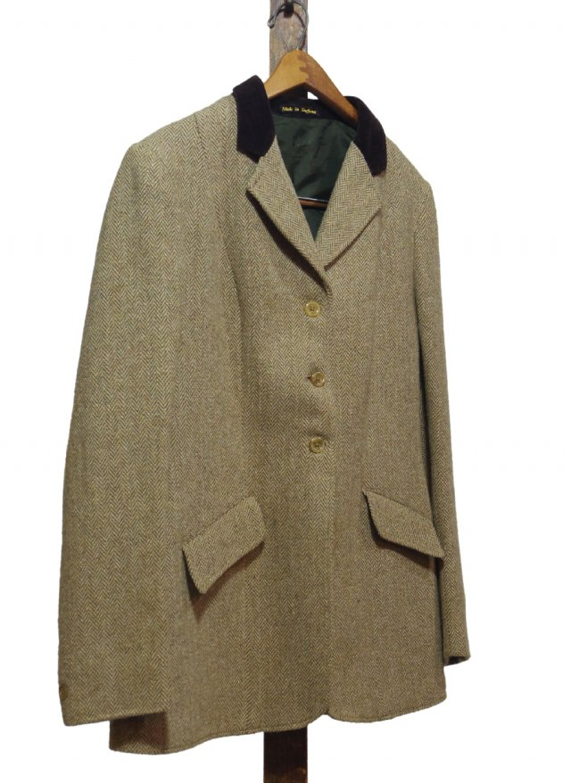 UK Vintage Hacking Wool Herringbone Jacket #0043<img class='new_mark_img2' src='https://img.shop-pro.jp/img/new/icons8.gif' style='border:none;display:inline;margin:0px;padding:0px;width:auto;' />