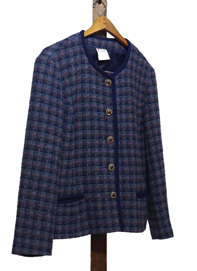 UK Vintage No Collar Wool Check Jacket Eastex #0046<img class='new_mark_img2' src='https://img.shop-pro.jp/img/new/icons8.gif' style='border:none;display:inline;margin:0px;padding:0px;width:auto;' />