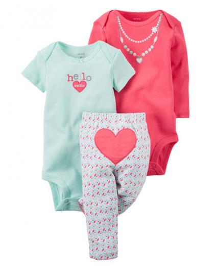 【カーターズ】3pc上下セット ボディスーツ パンツ 女の子ベビー服 コットン(HEART)
