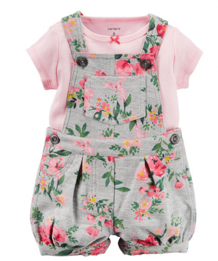 【カーターズ】2pc上下セット 女の子ベビー服 コットンショートオールset(Flower)