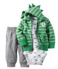 【カーターズ】3pc ユニークフーデット パーカー ボディスーツ パンツ 男の子ベビー服 コットン(DINOSAUR)