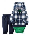 【カーターズ】3pc上下セット パーカー ボディスーツ パンツ 男の子ベビー服 フリース(ギンガム)