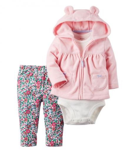 【カーターズ】3pc上下セット パーカー ボディスーツ パンツ 女の子ベビー服 フリース(Peach Flower)