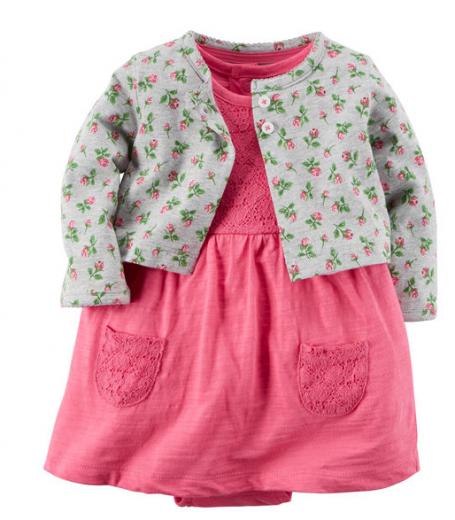 【カーターズ】2pk ロンパースドレス ワンピース女の子ベビー服 カーディガンset(Pink Flower)