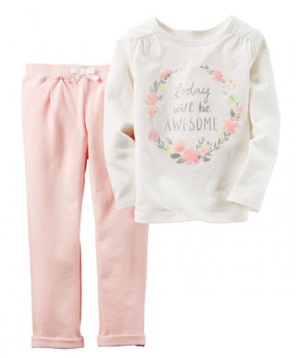 【カーターズ】2pc上下セット フレンチテリートップス パンツ 女の子ベビー服 コットン(Baby pink)