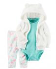 【カーターズ】3pc上下セット パーカー ボディスーツ パンツ 女の子ベビー服 フリース(Snow)