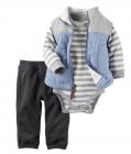 【カーターズ】3pc上下セット パーカー ボディスーツ パンツ 男の子ベビー服 フリース Standneckキルティングベストset