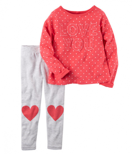 【カーターズ】2pc上下セット ジャージー トップス パンツ 女の子ベビー服 コットン(LOVE YOU)
