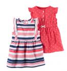 【カーターズ】2pk ロンパースドレス ワンピース 女の子ベビー服 カーディガンset(ストライプ/ドット)