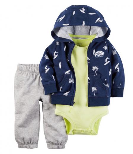 【カーターズ】3pc上下セット パーカー ボディスーツ パンツ 男の子ベビー服 コットン(Shark Beach)