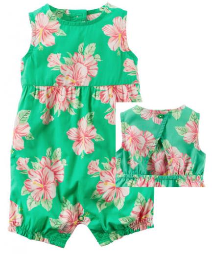 【カーターズ】オールインワン ロンパースカバーオール ベビー服 女の子 ジャンプスーツ(Hawaiian Floral)