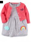 【カーターズ】2pk ロンパースドレス ワンピース女の子ベビー服 カーディガンset(Rainbow)