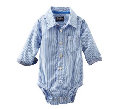 【OshKosh B'gosh】カバーオールロンパースベビー服 男の子コットンボディシャツ(Stripe)