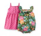 【カーターズ】2pk ロンパースドレス ワンピースクリーパー女の子ベビー服 カーディガンset(ボタニカル)