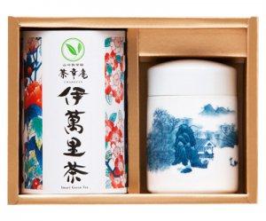 H8329 伊万里焼茶筒【山水】と伊萬里茶詰合せ
