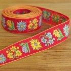 ハンガリー チロリアンテープRE お花刺繍YE×LBL 50cm