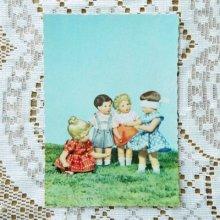 ドイツ ヴィンテージポストカード 4人の子供×目かくし (未使用)