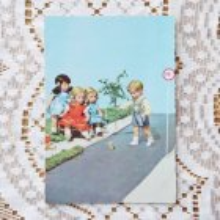 ドイツ ヴィンテージポストカード 4人の子供×こま回し (未使用)