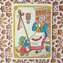 チェコスロバキア イースターカード おばあさんと女の子 J.Lady/ヨゼフ ラダ