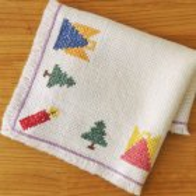 ドイツ 毛糸の刺繍クロスWH 天使とツリー