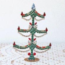 チェコスロバキア時代 ラインストーンのクリスマスツリーM/GR×WH