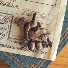 チェコスロバキア ヴィンテージブローチ キジ×チロル帽BR