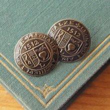 オーストリア メタルボタン 紋章×ダークブラウン