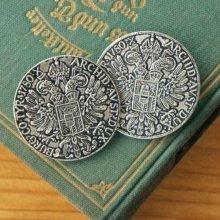 オーストリア メタルボタンLL 古い銀貨×シルバー