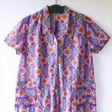 ドイツ ワンピースエプロンPU オレンジの花×袖襟