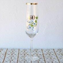 チェコのシャンパングラス 青いお花ペイント60