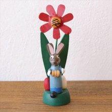 ドイツ 木製イースターバニーとお花の置き物 LBL×RE