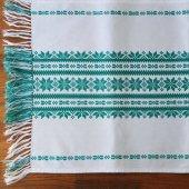 ハンガリー 刺繍のテーブルランナーWH 雪の結晶LGR×フリンジ