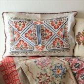 オーストリア クロスステッチ刺繍のピローケース/クッションカバーGY オレンジの花