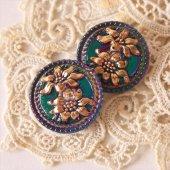 チェコ ボヘミアガラスボタン 2つの花/BLオーロラ