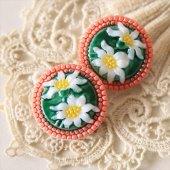 チェコ ボヘミアガラスボタン 2つの花/RE
