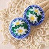 チェコ ボヘミアガラスボタン 2つの花/BL