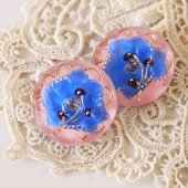 チェコ ボヘミアガラスボタン 3つの花/LBL×PI