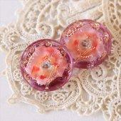 チェコ ボヘミアガラスボタン 3つの花/PI×PU