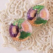 チェコ ボヘミアガラスボタン 2つの花と星屑/PI×PU